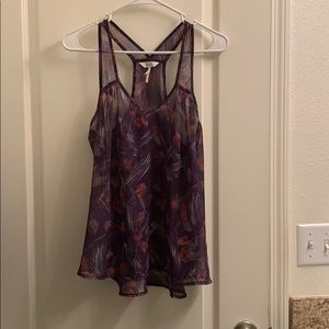 Sheer purple tank blouse